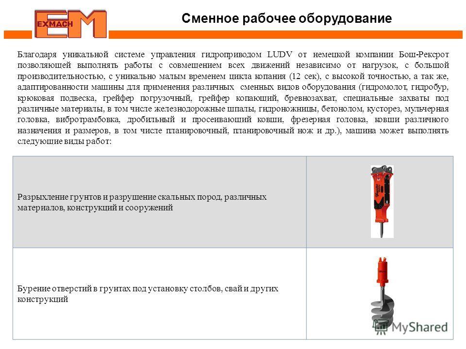 Сменное рабочее оборудование Благодаря уникальной системе управления гидроприводом LUDV от немецкой компании Бош-Рексрот позволяющей выполнять работы с совмещением всех движений независимо от нагрузок, с большой производительностью, с уникально малым
