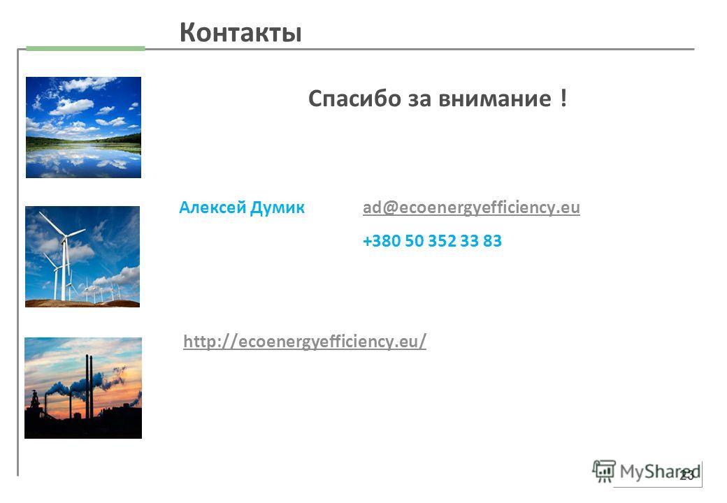 Спасибо за внимание ! Алексей Думикad@ecoenergyefficiency.euad@ecoenergyefficiency.eu +380 50 352 33 83 http://ecoenergyefficiency.eu/ 23 Контакты