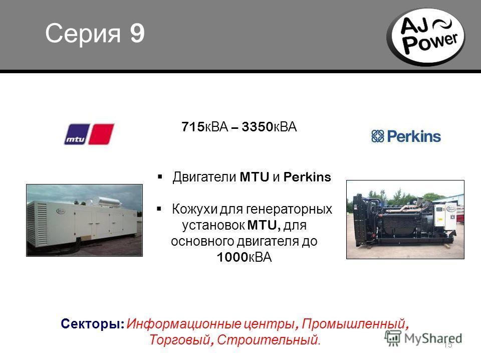 o 15 Серия 9 Двигатели MTU и Perkins Кожухи для генераторных установок MTU, для основного двигателя до 1000 кВА Секторы : Информационные центры, Промышленный, Торговый, Строительный. 715 кВА – 3350 кВА