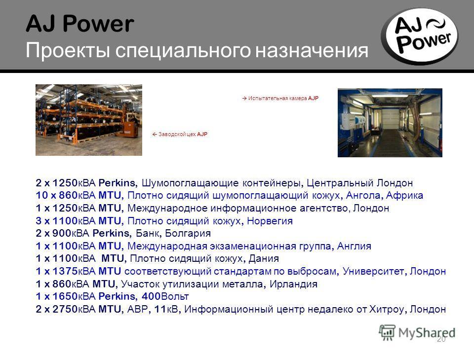 o 20 AJ Power Проекты специального назначения 2 x 1250 кВА Perkins, Шумопоглащающие контейнеры, Центральный Лондон 10 x 860 кВА MTU, Плотно сидящий шумопоглащающий кожух, Ангола, Африка 1 x 1250 кВА MTU, Международное информационное агентство, Лондон