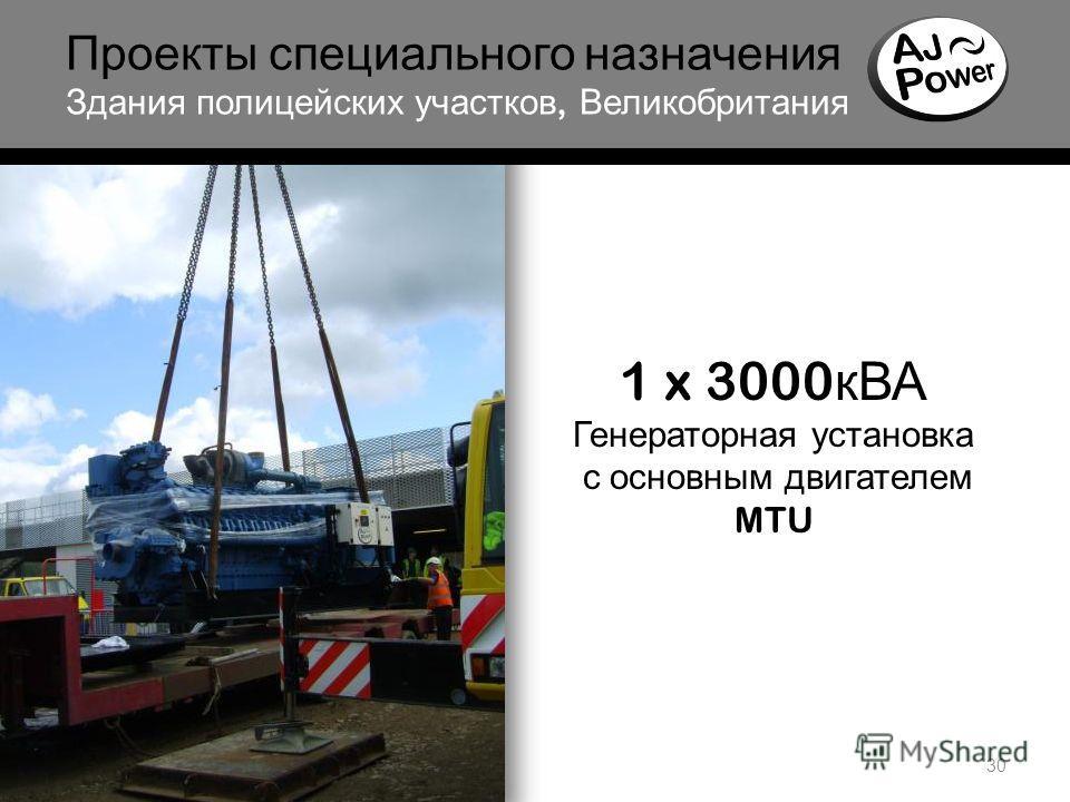 30 Проекты специального назначения Здания полицейских участков, Великобритания 1 x 3000 кВА Генераторная установка с основным двигателем MTU