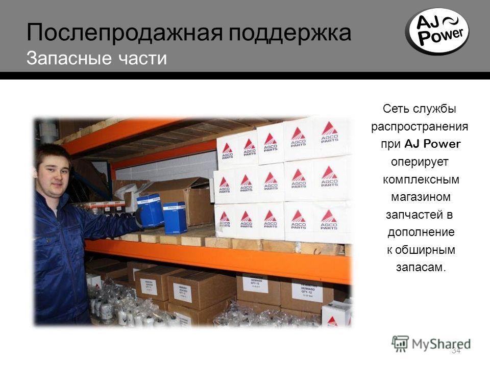 34 Послепродажная поддержка Запасные части Сеть службы распространения при AJ Power оперирует комплексным магазином запчастей в дополнение к обширным запасам.