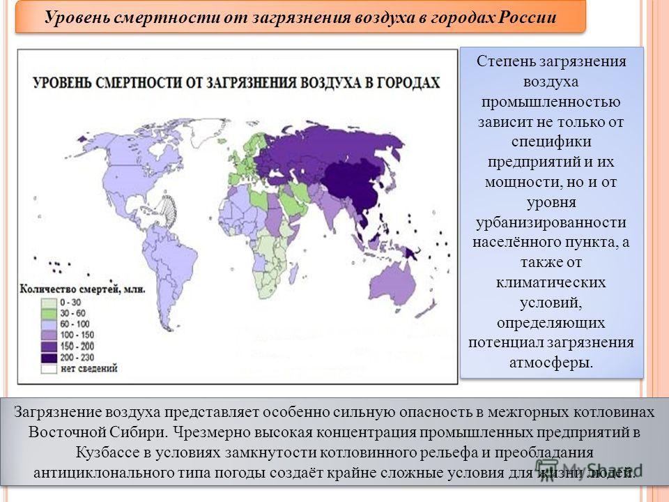 Уровень смертности от загрязнения воздуха в городах России Загрязнение воздуха представляет особенно сильную опасность в межгорных котловинах Восточной Сибири. Чрезмерно высокая концентрация промышленных предприятий в Кузбассе в условиях замкнутости