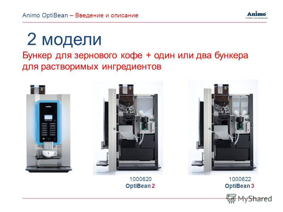 2 модели Бункер для зернового кофе + один или два бункера для растворимых ингредиентов 1000620 OptiBean 2 1000622 OptiBean 3 Animo OptiBean – Введение и описание
