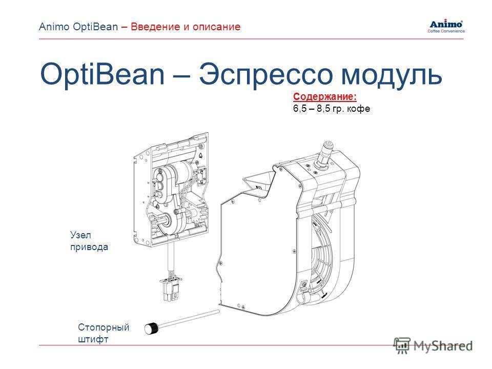 Узел привода Стопорный штифт Содержание: 6,5 – 8,5 гр. кофе OptiBean – Эспрессо модуль Animo OptiBean – Введение и описание
