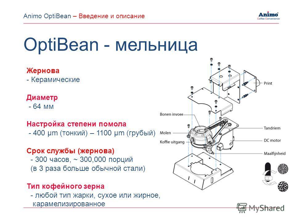 Жернова - Керамические Диаметр - 64 мм Настройка степени помола - 400 µm (тонкий) – 1100 µm (грубый) Срок службы (жернова) - 300 часов, ~ 300,000 порций (в 3 раза больше обычной стали) Тип кофейного зерна - любой тип жарки, сухое или жирное, карамели