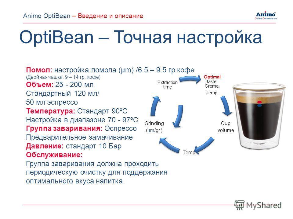 Помол: настройка помола (µm) /6.5 – 9.5 гр кофе (Двойная чашка: 9 – 14 гр. кофе) Объем: 25 - 200 мл Стандартный 120 мл/ 50 мл эспрессо Температура: Стандарт 90ºC Настройка в диапазоне 70 - 97ºC Группа заваривания: Эспрессо Предварительное замачивание