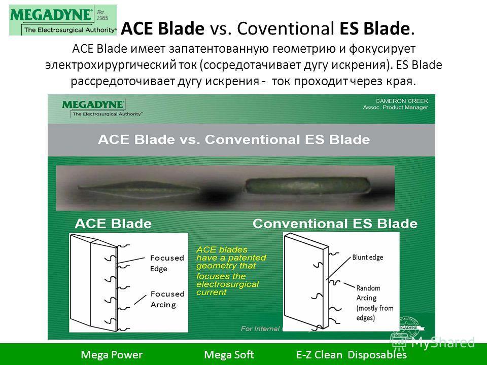 ACE Blade vs. Coventional ES Blade. ACE Blade имеет запатентованную геометрию и фокусирует электрохирургический ток (сосредотачивает дугу искрения). ES Blade рассредоточивает дугу искрения - ток проходит через края. Mega Power Mega Soft E-Z Clean Dis