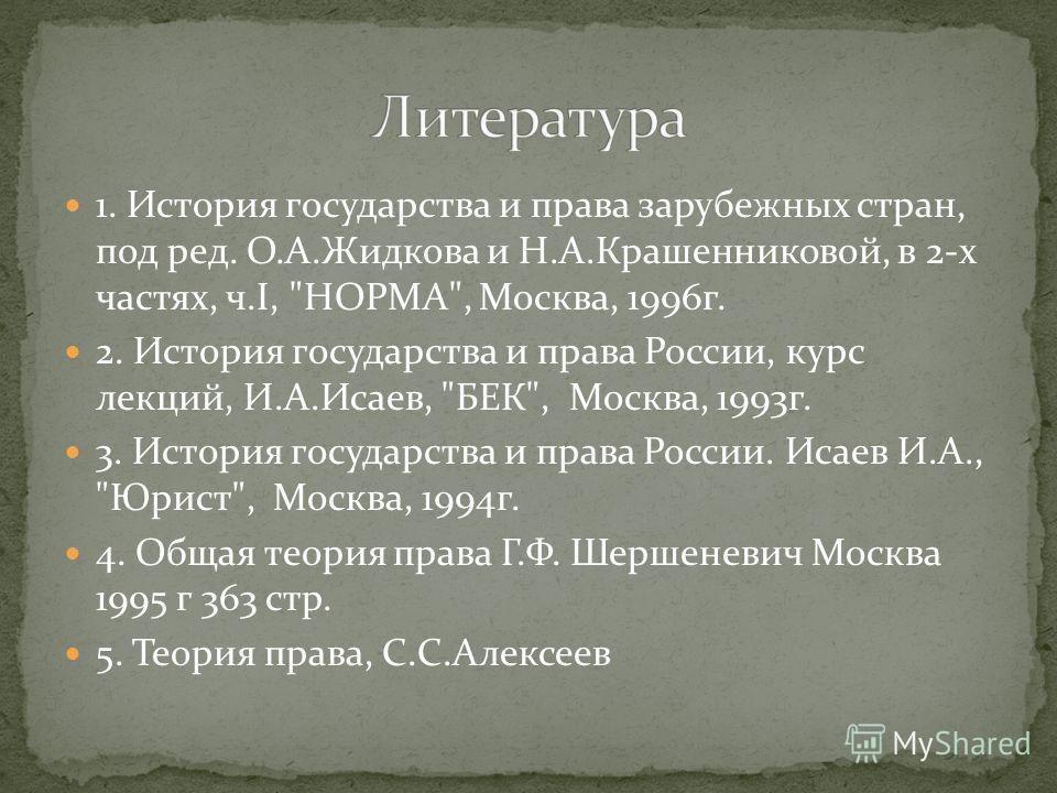 1. История государства и права зарубежных стран, под ред. О.А.Жидкова и Н.А.Крашенниковой, в 2-х частях, ч.I,
