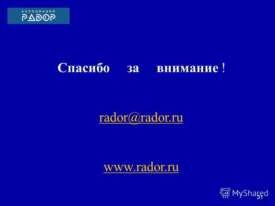 Спасибо за внимание ! rador@rador.ru www.rador.ru 31
