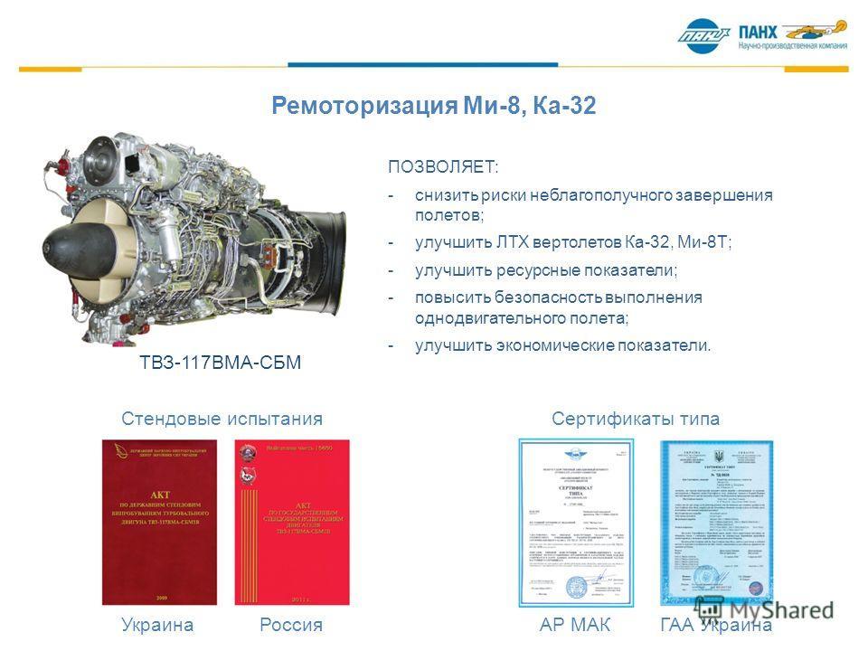 Ремоторизация Ми-8, Ка-32 Стендовые испытания Сертификаты типа Украина Россия АР МАК ГАА Украина ТВЗ-117ВМА-СБМ ПОЗВОЛЯЕТ: -снизить риски неблагополучного завершения полетов; -улучшить ЛТХ вертолетов Ка-32, Ми-8Т; -улучшить ресурсные показатели; -пов