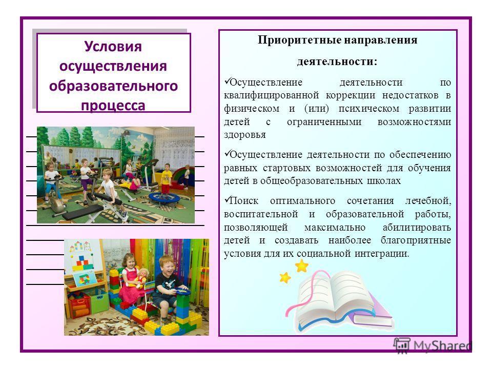 _____________________________ Условия осуществления образовательного процесса Приоритетные направления деятельности: Осуществление деятельности по квалифицированной коррекции недостатков в физическом и (или) психическом развитии детей с ограниченными