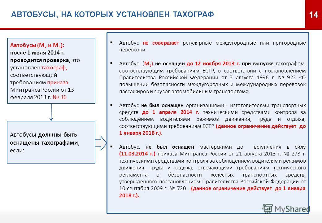 АВТОБУСЫ, НА КОТОРЫХ УСТАНОВЛЕН ТАХОГРАФ 14 Автобус не совершает регулярные междугородные или пригородные перевозки. Автобус (M 3 ) не оснащен до 12 ноября 2013 г. при выпуске тахографом, соответствующим требованиям ЕСТР, в соответствии с постановлен