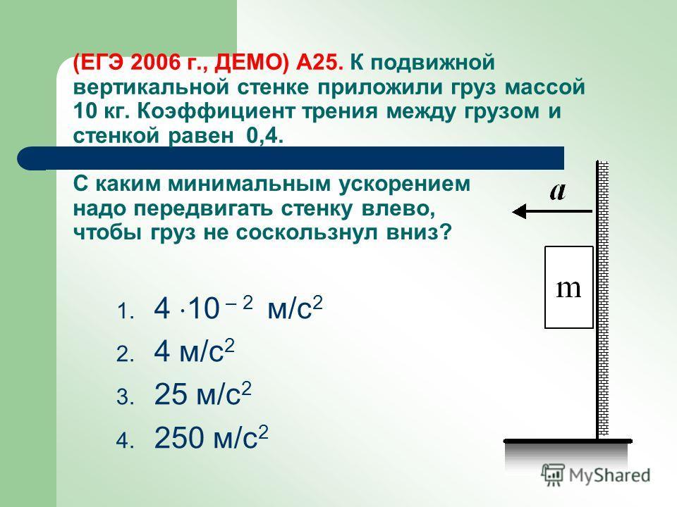(ЕГЭ 2006 г., ДЕМО) А25. К подвижной вертикальной стенке приложили груз массой 10 кг. Коэффициент трения между грузом и стенкой равен 0,4. 1. 4 10 – 2 м/с 2 2. 4 м/с 2 3. 25 м/с 2 4. 250 м/с 2 С каким минимальным ускорением надо передвигать стенку вл