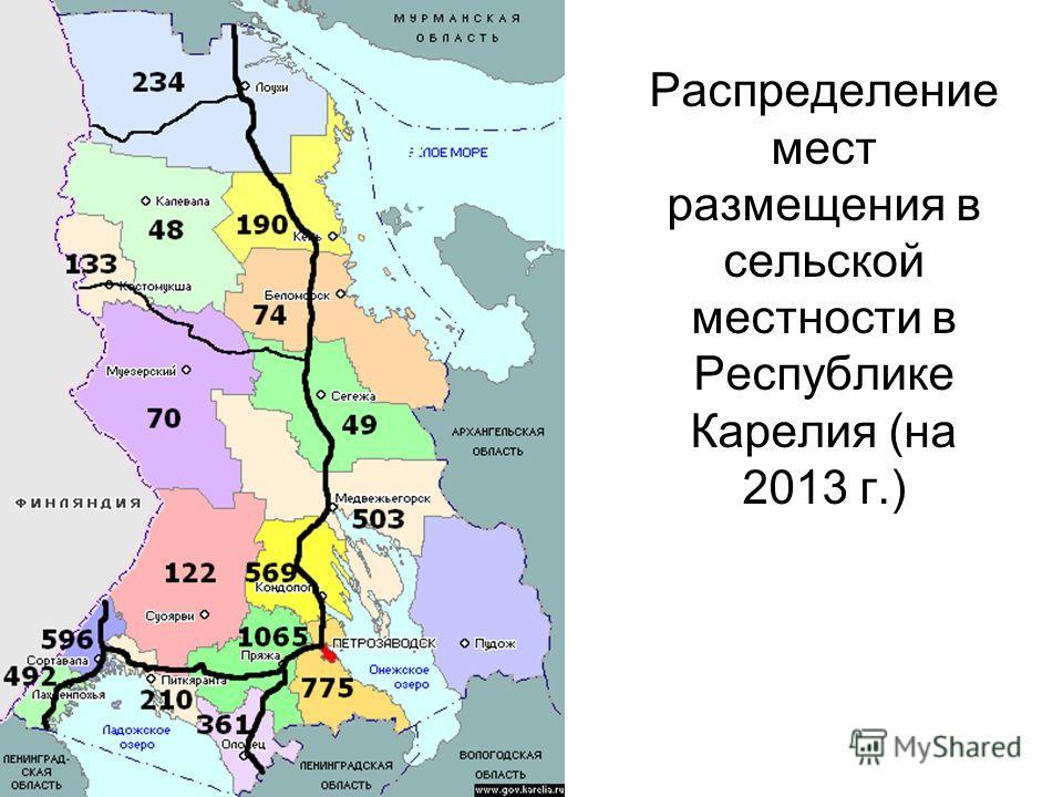 Распределение мест размещения в сельской местности в Республике Карелия (на 2013 г.)
