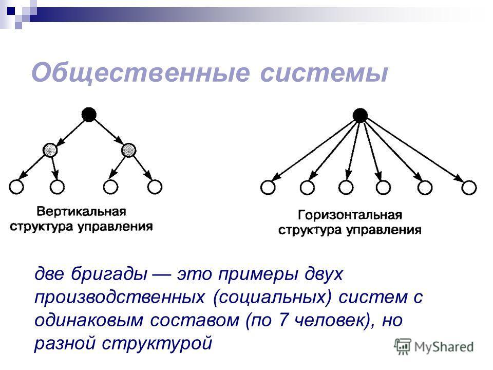 Общественные системы две бригады это примеры двух производственных (социальных) систем с одинаковым составом (по 7 человек), но разной структурой