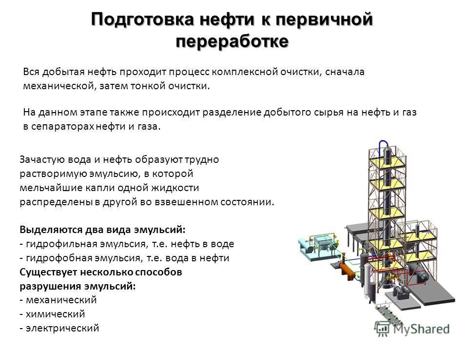Подготовка нефти к первичной переработке На данном этапе также происходит разделение добытого сырья на нефть и газ в сепараторах нефти и газа. Зачастую вода и нефть образуют трудно растворимую эмульсию, в которой мельчайшие капли одной жидкости распр