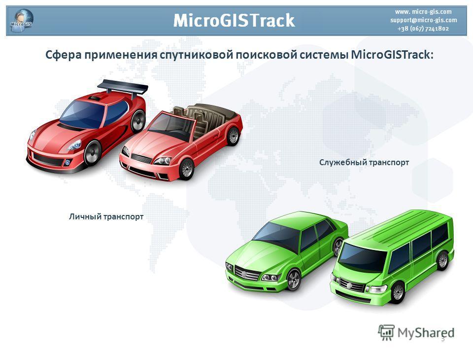 Сфера применения спутниковой поисковой системы MicroGISTrack: Личный транспорт Служебный транспорт 3