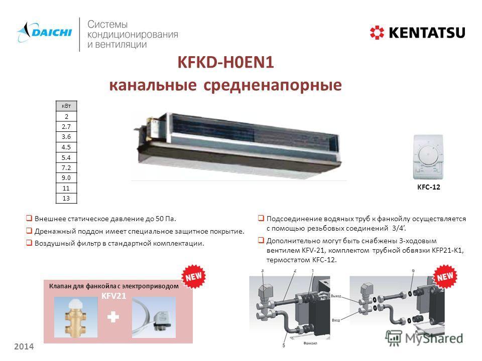 2014 KFKD-H0EN1 канальные средненапорные к Вт 2 2.7 3.6 4.5 5.4 7.2 9.0 11 1313 Внешнее статическое давление до 50 Па. Дренажный поддон имеет специальное защитное покрытие. Воздушный фильтр в стандартной комплектации. KFC-12 Подсоединение водяных тру