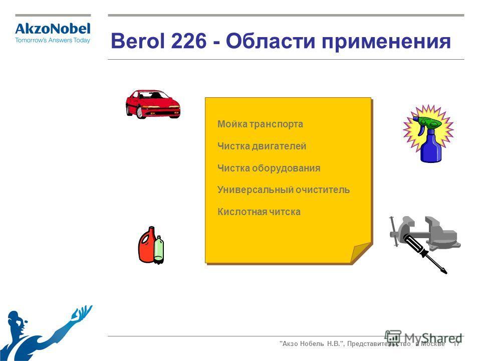 Акзо Нобель Н.В., Представительство в Москве 17 Berol 226 - Области применения Мойка транспорта Чистка двигателей Чистка оборудования Универсальный очиститель Кислотная читска
