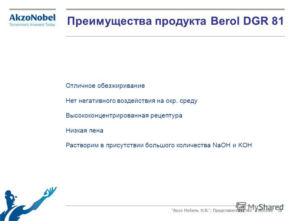 Акзо Нобель Н.В., Представительство в Москве 32 Преимущества продукта Berol DGR 81 Отличное обезжиривание Нет негативного воздействия на окр. среду Высококонцентрированная рецептура Низкая пена Растворим в присутствии большого количества NaOH и KOH