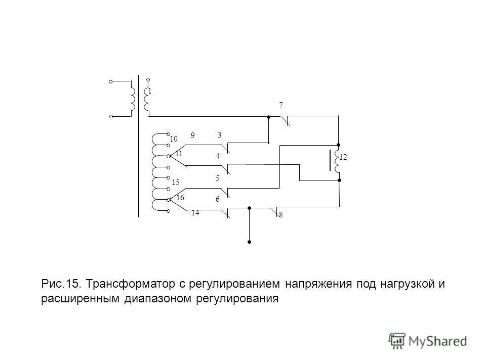 12 1 10 9 3 7 11 15 16 4 5 6 8 14 Рис.15. Трансформатор с регулированием напряжения под нагрузкой и расширенным диапазоном регулирования