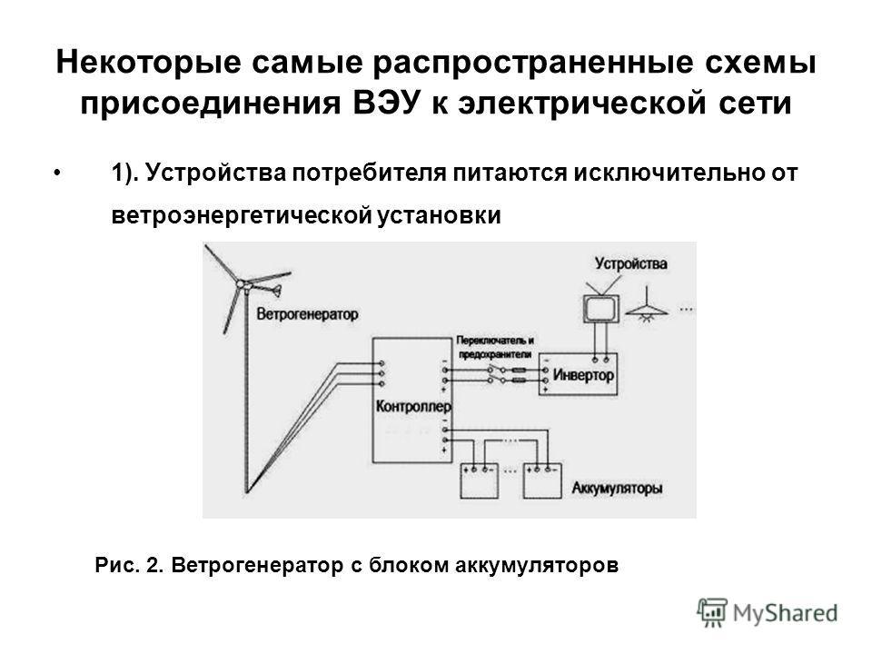 Некоторые самые распространенные схемы присоединения ВЭУ к электрической сети 1). Устройства потребителя питаются исключительно от ветроэнергетической установки Рис. 2. Ветрогенератор с блоком аккумуляторов