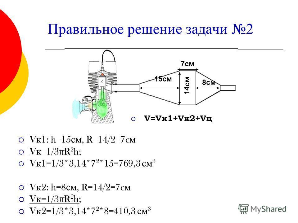 Правильное решение задачи 2 V=Vк 1+Vк 2+Vц V к 1: h=15 см, R=14/2=7c м V к =1/3πR 2 h; V к 1=1/3*3,14*7 2 *15=769,3 см 3 V к 2: h=8 см, R=14/2=7c м V к =1/3πR 2 h; V к 2=1/3*3,14*7 2 *8=410,3 см 3 14 см 7 см 8 см 15 см
