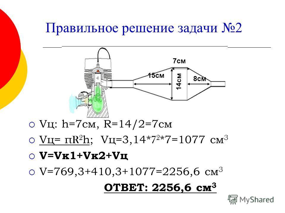 Правильное решение задачи 2 Vц: h=7 см, R=14/2=7cм Vц= π R 2 h; Vц=3,14* 7 2 *7=1077 см 3 V=Vк 1+Vк 2+Vц V=769,3+410,3+1077=2256,6 см 3 ОТВЕТ: 2256,6 см 3 14 см 7 см 8 см 15 см