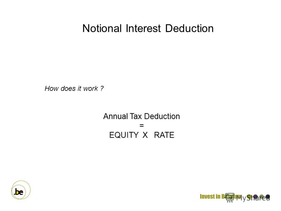 How does it work ? Annual Tax Deduction = EQUITY X RATE Notional Interest Deduction