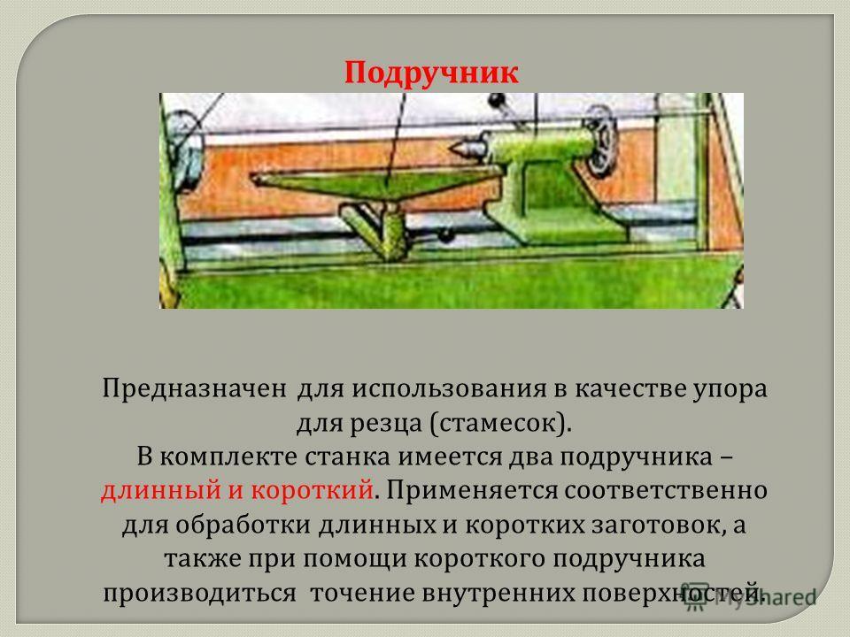 Подручник Предназначен для использования в качестве упора для резца ( стамесок ). В комплекте станка имеется два подручника – длинный и короткий. Применяется соответственно для обработки длинных и коротких заготовок, а также при помощи короткого подр