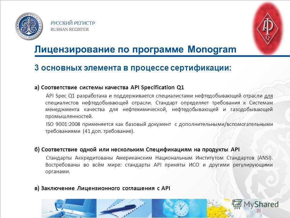 25 Лицензирование по программе Monogram 3 основных элемента в процессе сертификации: а) Соответствие системы качества API Specification Q1 API Spec Q1 разработана и поддерживается специалистами нефтедобывающей отрасли для специалистов нефтедобывающей