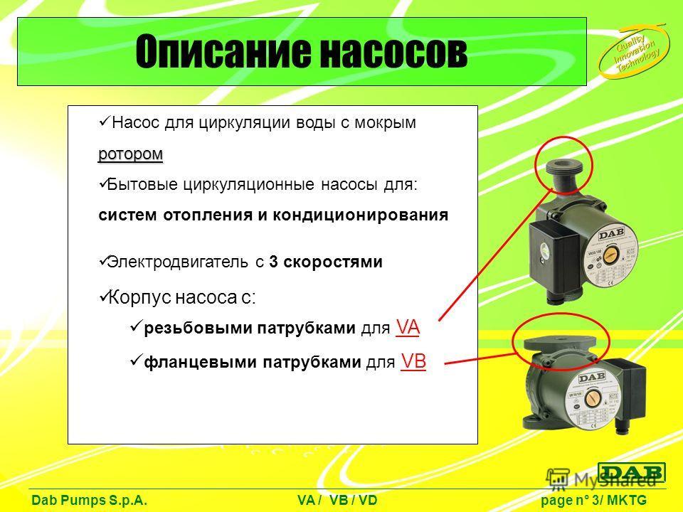 ротором Насос для циркуляции воды с мокрым ротором Бытовые циркуляционные насосы для: систем отопления и кондиционирования Электродвигатель с 3 скоростями Корпус насоса с: резьбовыми патрубками для VA фланцевыми патрубками для VB Dab Pumps S.p.A. VA
