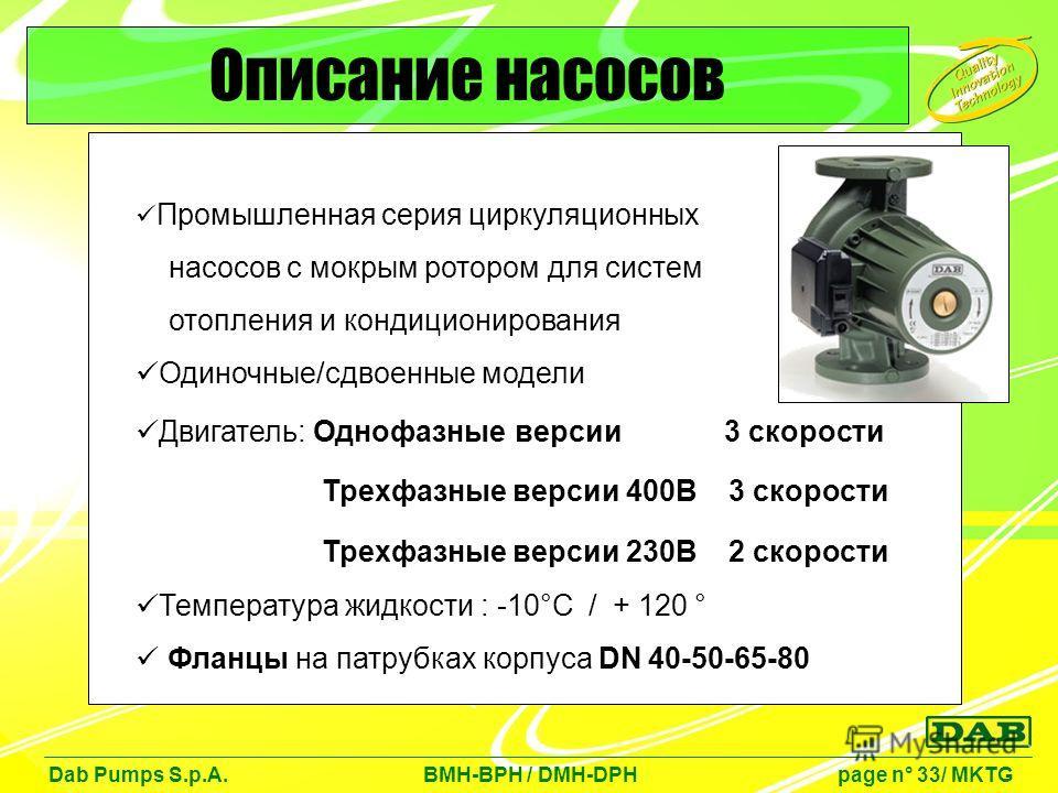 Промышленная серия циркуляционных насосов с мокрым ротором для систем отопления и кондиционирования Одиночные/сдвоенные модели Двигатель: Однофазные версии 3 скорости Трехфазные версии 400В 3 скорости Трехфазные версии 230В 2 скорости Температура жид
