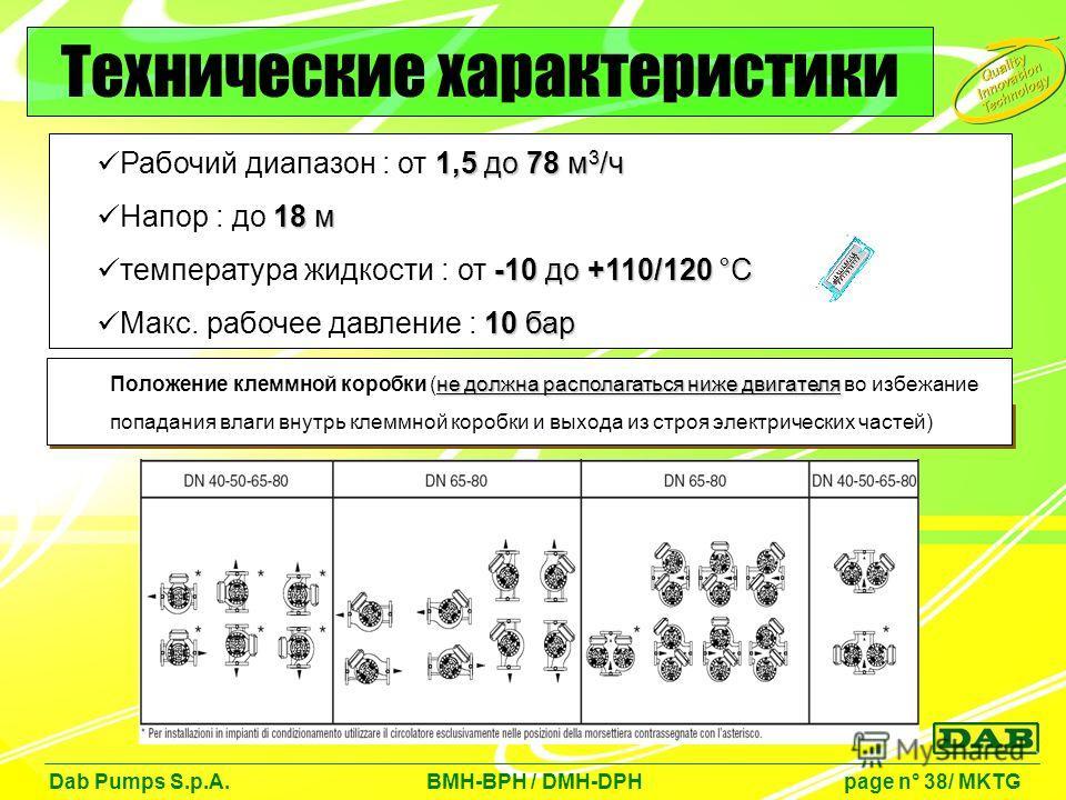 1,5 до 78 м 3 /ч Рабочий диапазон : от 1,5 до 78 м 3 /ч 18 м Напор : до 18 м -10 до +110/120 °C температура жидкости : от -10 до +110/120 °C 10 бар Макс. рабочее давление : 10 бар Dab Pumps S.p.A. BMH-BPH / DMH-DPH page n° 38/ MKTG Технические характ