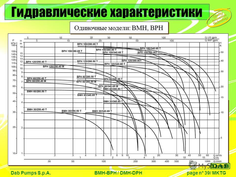 Dab Pumps S.p.A. BMH-BPH / DMH-DPH page n° 39/ MKTG Гидравлические характеристики Одиночные модели: BMH, BPH