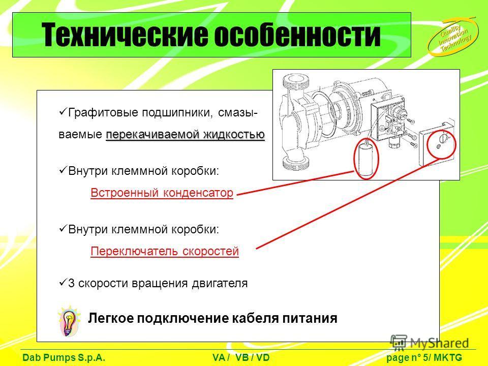 Графитовые подшипники, смазы- перекачиваемой жидкостью ваемые перекачиваемой жидкостью Внутри клеммной коробки: Встроенный конденсатор Внутри клеммной коробки: Переключатель скоростей 3 скорости вращения двигателя Легкое подключение кабеля питания Те