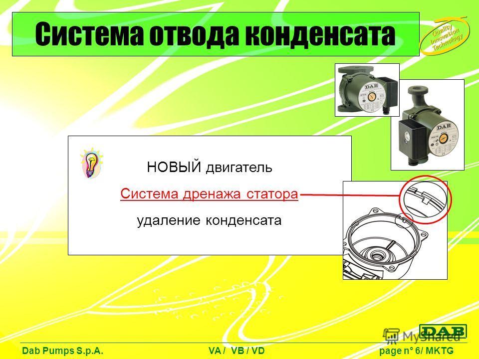 НОВЫЙ двигатель Система дренажа статора удаление конденсата Dab Pumps S.p.A. VA / VB / VD page n° 6/ MKTG Система отвода конденсата