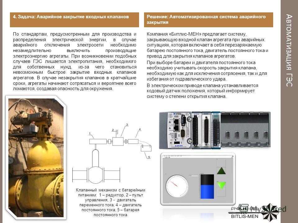 А ВТОМАТИЗАЦИЯ ГЭС 4. Задача: Аварийное закрытие входных клапанов По стандартам, предусмотренным для производства и распределения электрической энергии, в случае аварийного отключения электросети необходимо незамедлительно выключить производящие элек