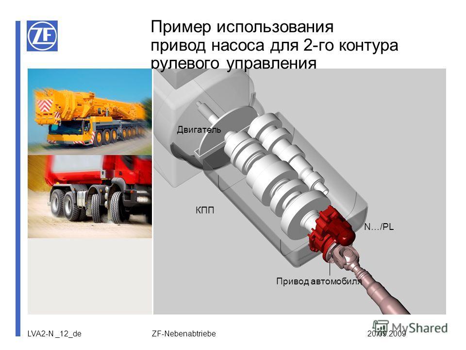 LVA2-N _12_de ZF-Nebenabtriebe 20.09.2009 Пример использования привод насоса для 2-го контура рулевого управления Двигатель КПП N…/PL Привод автомобиля