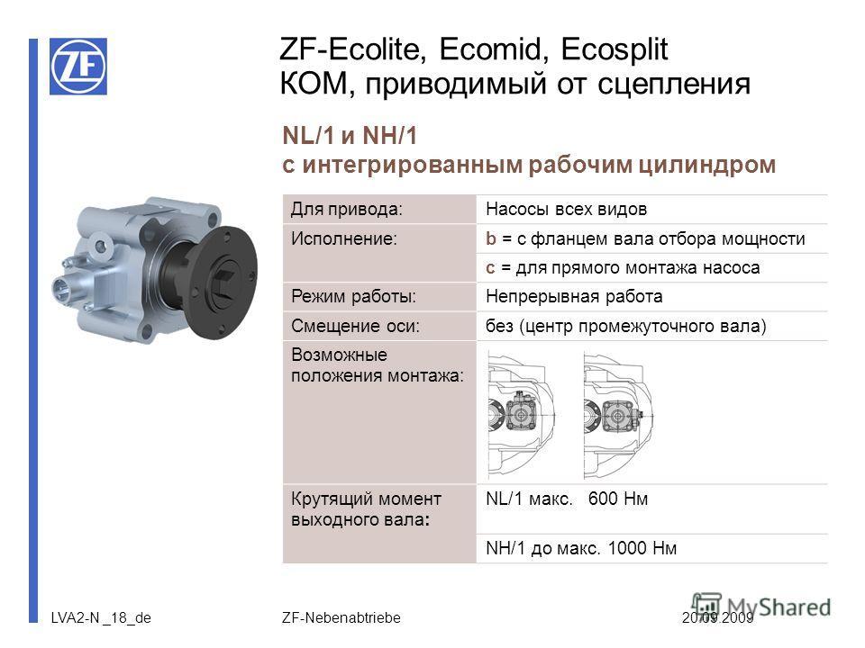 LVA2-N _18_de ZF-Nebenabtriebe 20.09.2009 ZF-Ecolite, Ecomid, Ecosplit КОМ, приводимый от сцепления NL/1 и NH/1 с интегрированным рабочим цилиндром Для привода:Насосы всех видов Исполнение:b = с фланцем вала отбора мощности c = для прямого монтажа на