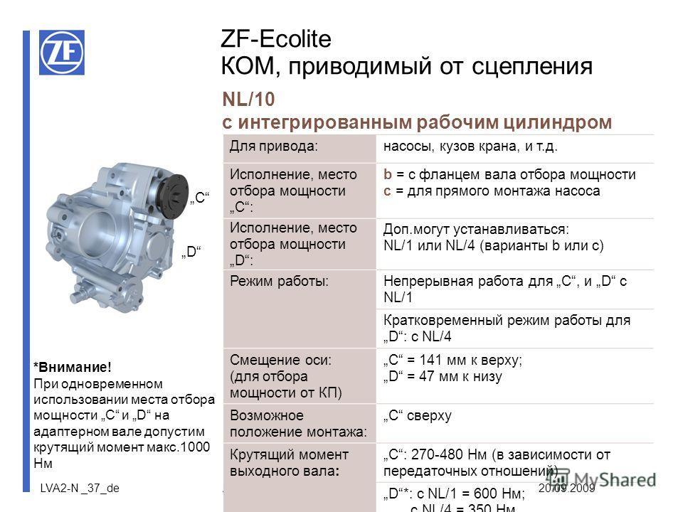LVA2-N _37_de ZF-Nebenabtriebe 20.09.2009 ZF-Ecolite КОМ, приводимый от сцепления NL/10 с интегрированным рабочим цилиндром Для привода:насосы, кузов крана, и т.д. Исполнение, место отбора мощности C: b = с фланцем вала отбора мощности c = для прямог