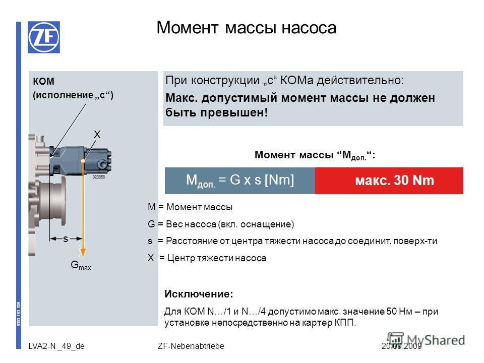 LVA2-N _49_de ZF-Nebenabtriebe 20.09.2009 Момент массы насоса При конструкции c КОМа действительно: Макс. допустимый момент массы не должен быть превышен! Момент массы M доп. : M = Момент массы G = Вес насоса (вкл. оснащение) s = Расстояние от центра