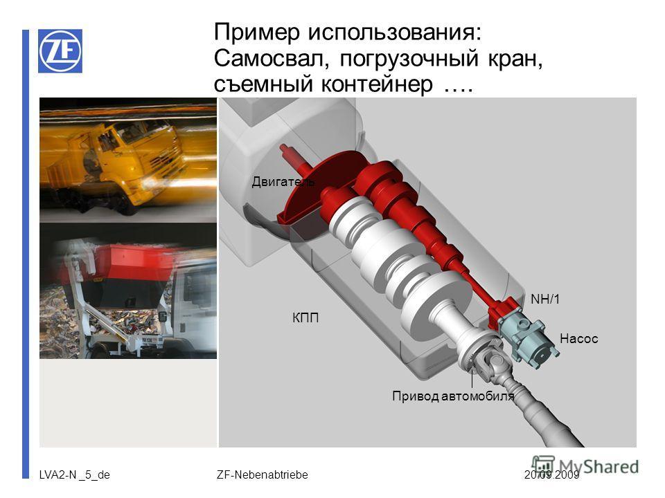 LVA2-N _5_de ZF-Nebenabtriebe 20.09.2009 Пример использования: Самосвал, погрузочный кран, съемный контейнер …. Двигатель КПП NH/1 Насос Привод автомобиля