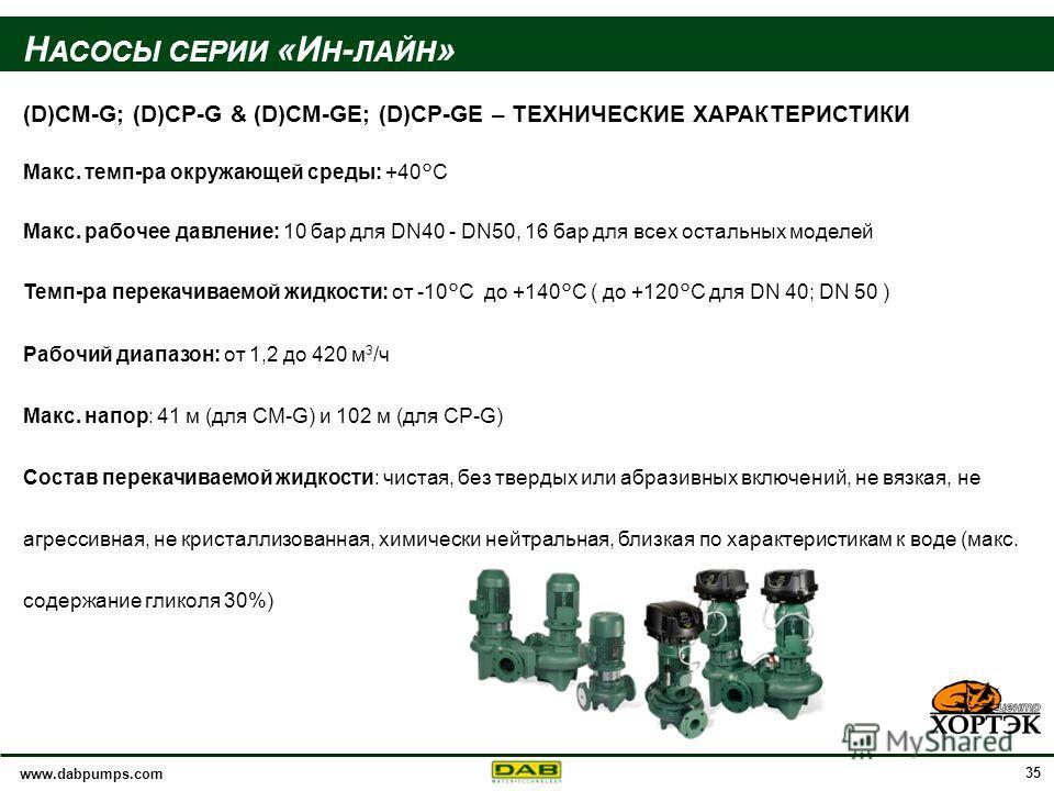 www.dabpumps.com 35 Н АСОСЫ СЕРИИ «И Н - ЛАЙН » (D)CM-G; (D)CP-G & (D)CM-GE; (D)CP-GE – ТЕХНИЧЕСКИЕ ХАРАКТЕРИСТИКИ Макс. темп-ра окружающей среды: +40°C Макс. рабочее давление: 10 бар для DN40 - DN50, 16 бар для всех остальных моделей Темп-ра перекач