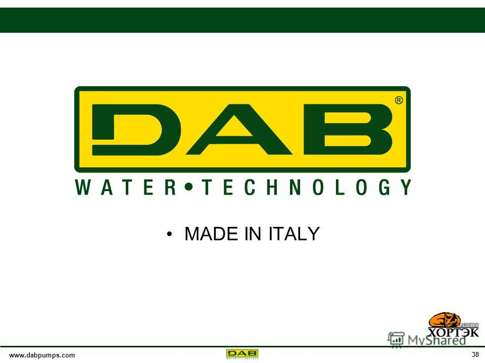www.dabpumps.com 38 MADE IN ITALY