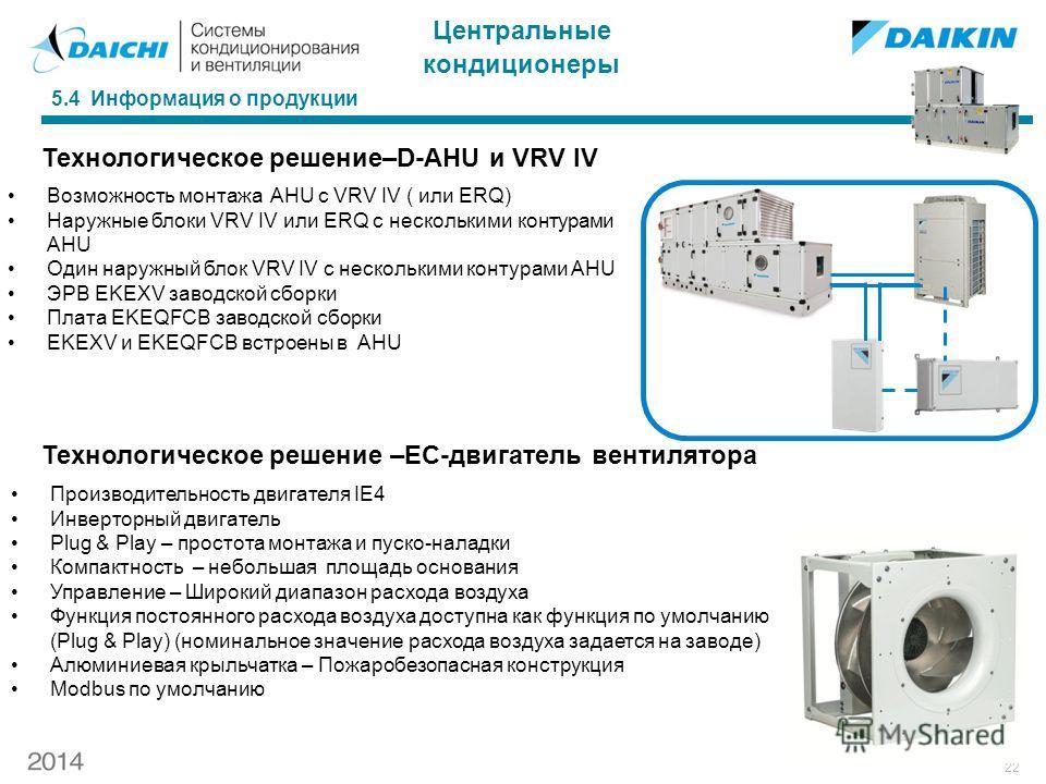 22 5.4 Информация о продукции Технологическое решение–D-AHU и VRV IV Возможность монтажа AHU с VRV IV ( или ERQ) Наружные блоки VRV IV или ERQ с несколькими контурами AHU Один наружный блок VRV IV с несколькими контурами AHU ЭРВ EKEXV заводской сборк
