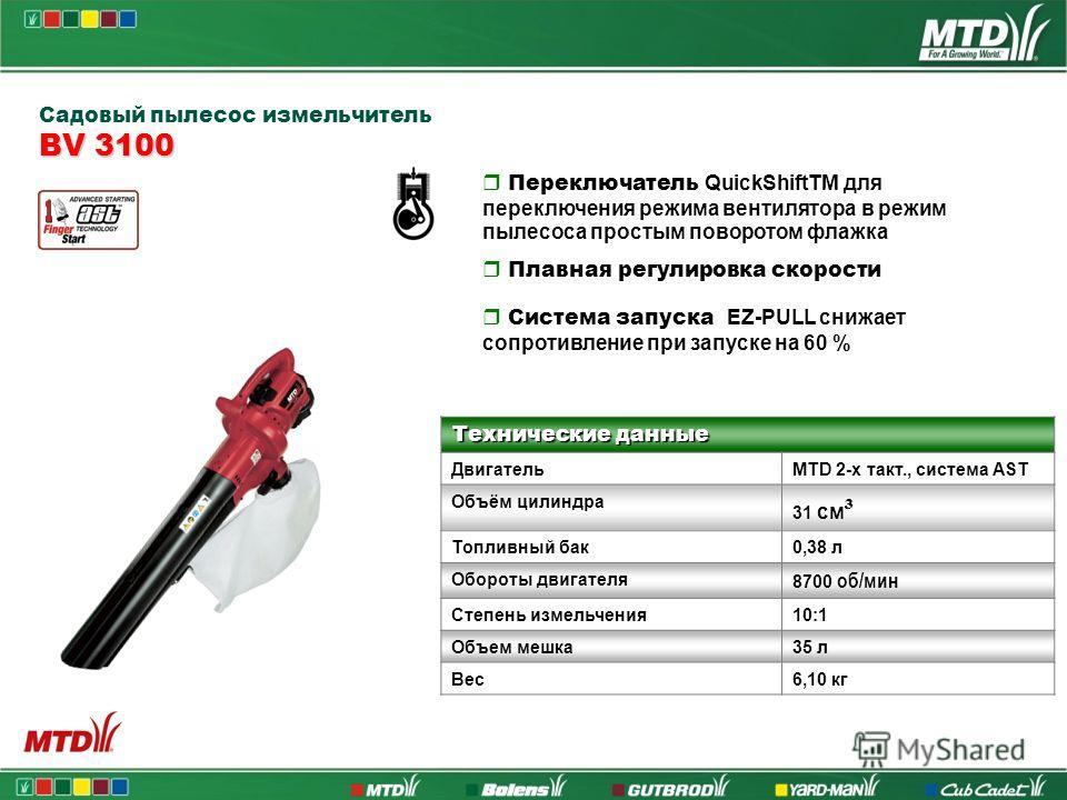 Садовый пылесос измельчитель BV 3100 Переключатель QuickShiftTM для переключения режима вентилятора в режим пылесоса простым поворотом флажка Плавная регулировка скорости Система запуска EZ-PULL снижает сопротивление при запуске на 60 % Технические д