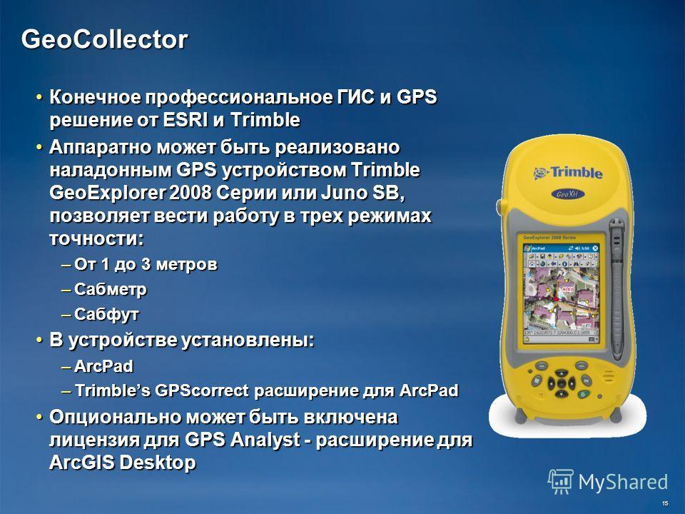 GeoCollector Конечное профессиональное ГИС и GPS решение от ESRI и Trimble Конечное профессиональное ГИС и GPS решение от ESRI и Trimble Аппаратно может быть реализовано наладонным GPS устройством Trimble GeoExplorer 2008 Серии или Juno SB, позволяет