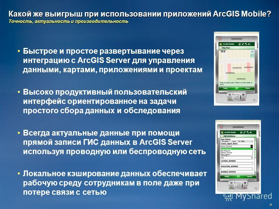 Какой же выигрыш при использовании приложений ArcGIS Mobile? Точность, актуальность и производительность Быстрое и простое развертывание через интеграцию с ArcGIS Server для управления данными, картами, приложениями и проектам Высоко продуктивный пол